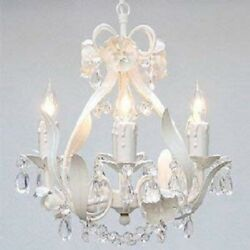Wrought Iron White Crystal Chandelier Lighting Country French Mini 4 Lights