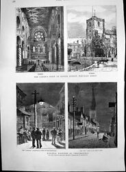 Old Print Queens Visit Waltham Abbey Electric Lighting Chesterfield 1882 19th