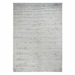 9'x12' Pure Silk With Textured Wool Fluffy Collection Hand Knotted Rug R48352
