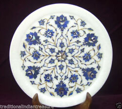 White Marble Round Serving Plate Lapis Lazuli Inlay Marquetry Floral Art Decor
