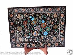 Belgium Black Marble Real Serving Tray Plate Coral Inlay Kitchen Gifts Art Decor