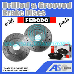 Drilled And Grooved 5 Stud 304mm Vented Brake Discs D_g_2376 With Ferodo Pads