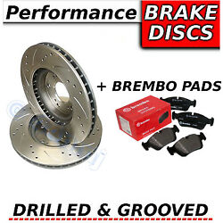 Ford Galaxy 2.3 11/07-12/10 Drilled And Grooved Front Brake Discs + Brembo Pads