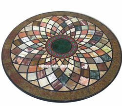42 X 42 Round Black Marble Dining / Center Table Top Home Decor Marquetry Art
