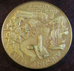 Large 1976 New Jersey Bicentennial 24kt On Sterling Silver Round 50.6g