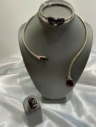 Cherry Amber Necklace Bracelet And Ring Set Sterling Silver. Poland