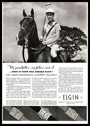1934 Elgin Watch Polo Club Pony Mallet Boots Breeches Gold Watches Print Ad