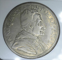 Italy-papal States 1 Piastra 1676-1nd Vf Details Ngc Silver Km393 St. Matthew