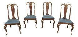 L48621ec Set Of 4 Baker Cherry Queen Anne Dining Chairs W. Gold Gilt Details