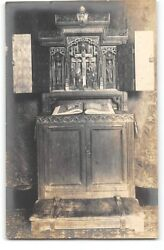 Real Photo-religious-prie Dieu For The Bishop Of Rhode Island-chapel-postcard