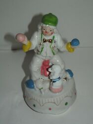 Music Box Clown Juggling Balls And Puppy Dog Sitting On Ball Rotates 8 Porcelain
