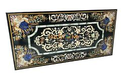 6and039x3and039 Black Marble Dining Table Top Real Handmade Inlaid Art Kitchen Decor B099