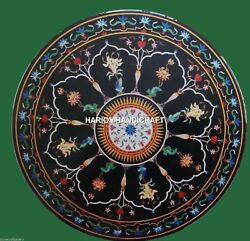 Round Black Top Marble Kitchen Table Marquetry Mosaic Inlay Handmade Arts H4511