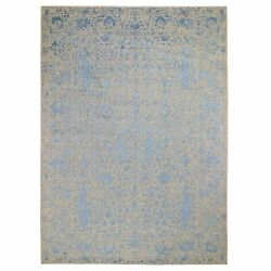 9and039x12and0393 Gray Broken Cypress Tree Silken Thick Hand-loomed Oriental Rug R48467