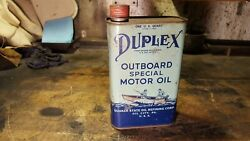 Antique Duplex Outboard Special Motor Quart Can Quaker State Oil City Pa-nice
