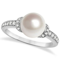 Solitaire Freshwater Cultured Pearl And Diamond Ring 14k W. Gold 0.16ctw 8.00mm