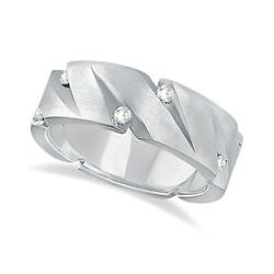 0.50ct Pointed Groove Diamond Wedding Ring Wide Band Modern 14k White Gold Mens