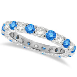 1.07ct Fancy Blue And White Diamond Eternity Ring Band 14k White Gold