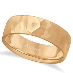 7mm Menand039s Hammer Finished Carved Band Wedding Ring Contemporary 14k Rose Gold