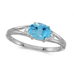 0.59tcw Real Oval Blue Topaz And Diamond Right Hand Stationary Ring 14k White Gold
