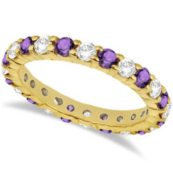 2.40ct Stackable Eternity Diamond And Amethyst Ring Wedding Band 14k Yellow Gold