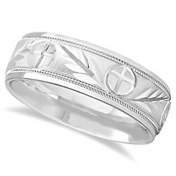 7mm Menand039s Carved Cross And Leaf Wedding Band In 14k White Gold
