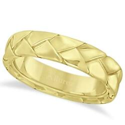 7mm High Polish Braided Unique Handwoven Wedding Ring For Men 14k Yellow Gold