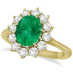 3.60ctw Princess Kate Oval Emerald And Diamond Statement Ring 14k Yellow Gold