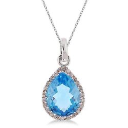Natural Pear Cut Blue Topaz And Diamond Pendant Necklace 14k White Gold 9x11mm
