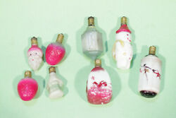Lot Of 8 Antiques Figural Milk Glass Christmas Light Bulbs, Working