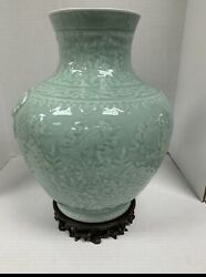 Large Asian Celadon Vase Urn Handpainted With Wooden Stand And Custom Box