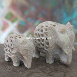 Creative Marble Elephant Figurine Living Home Gifts Good Wishes Decor Arts H4653