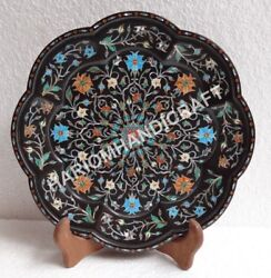 12and039and039 Black Belgium Marble Serving Plate Turquoise And Hakik Floral Inlay E789a