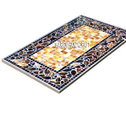 Mosaic Antique Stone Real Marble Abalone Dining Table Inlaid Garden Arts H4004
