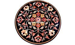 Marble Table Console Round Multi Floral Top Mosaic Inlay Outdoor Decorated H5647