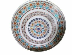 Round Design Marble Dining Table Top Multi Floral Inlaid Handicraft Decor H4559