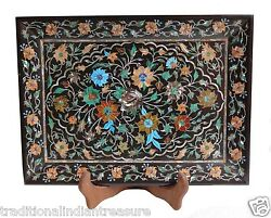 12x10 Black Belgium Marble Tray Multi Marquetry Inlay Floral Arts Gift Decor