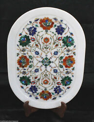 13x18 White Marble Serving Plate Tray Decorative Pietra Dura Handmade Gifts