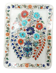 13x10 Marble Serving Tray Plate Multi Stone Floral Inlay Kitchen Arts Gifts