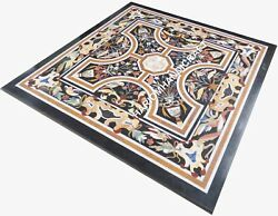 36 Black Marble Table Top Living Room Marquetry Floral Inlaid Home Decor E469b