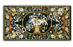 5and039x3and039 Marble Black Dining Table Top Collectible Marquetry Inlay Home Decor E985b