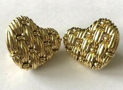 1992 And Co 18k Gold Signature Series Woven Heart Earrings Omega Back Rare