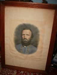1871 Color Lithograph Confederate General Stonewall Jackson In Period Frame
