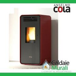 Pellet Stove Airy Anselmo Cola Model Ambra 6 Kw Disp. In Various Colours