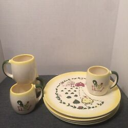 8 Piece New Vintage Brock Of Ca Farmhouse Dinner/snack Plates 10 1/2 And Cups