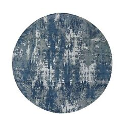 8and0391x8and0391 Blue Abstract Design Wool And Pure Silk Hand Knotted Round Rug R48497