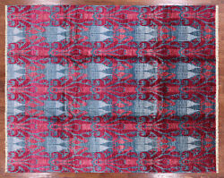 Hand Knotted Ikat Area Rug 7' 10 X 9' 10 - P5994