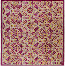 8and039 Square William Morris Hand Knotted Wool Rug - P7011
