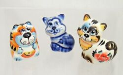Set 3 Russian porcelain figurines of CATS #0208.19