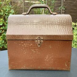 Antique Rare Thermos Brand Embossed Metal Tin Workman Miner Lunch Box Ca.1910s